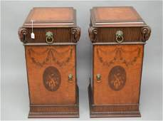 Pair of large Inlaid wood Side Tables. Carved Ram Heads