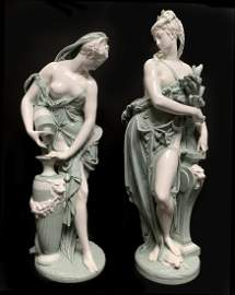 Pair of Monumental Minton Porcelain Maidens