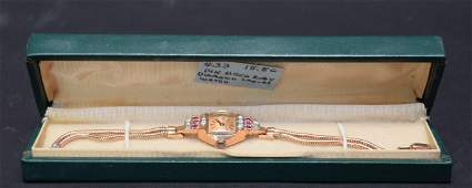 Vintage Deco 14kt Rose Gold Ladies Waltham Watch and