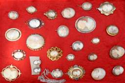 Vintage 26 pc. Shell Cameo Pins, Pendants, Earrings In