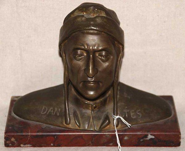 "3: Bronze Sculpture   ""Dantes"" on marble base"