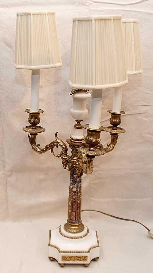 """4: Marble and parcel gilt 3 light candelabra, 23""""h"""