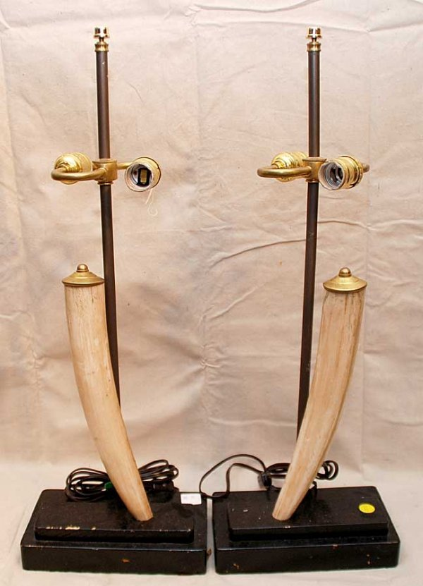 5: Pair of ivory tusks affixed to a pair of double ligh