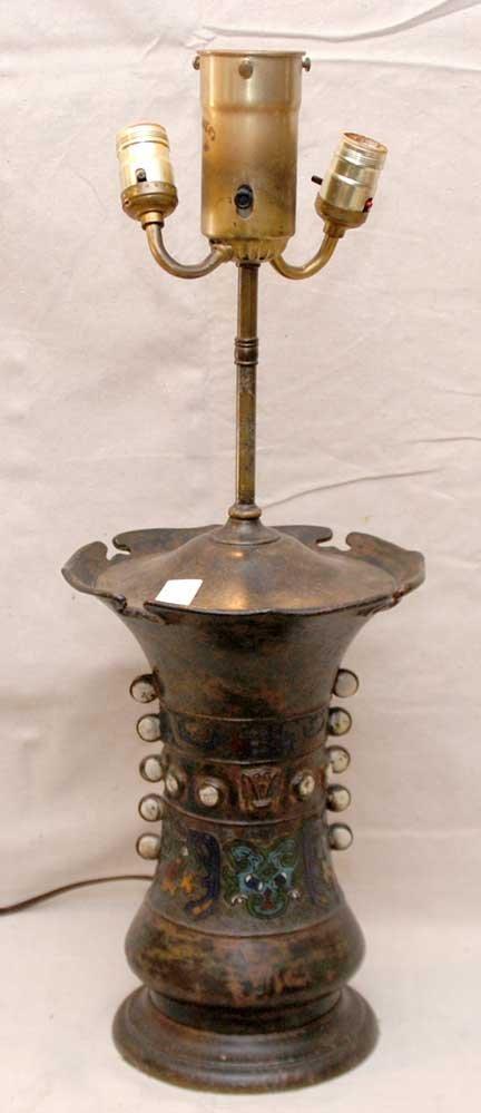 6: Unusual 19th century  cloisonné' double light lamp,
