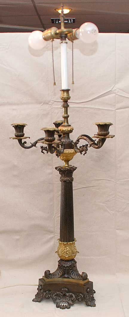 7: Bronze gilt French Style 5 branch electrified candel