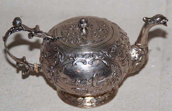 "11: Dutch early 19th century silver teapot, 6 1/2""l x 3"