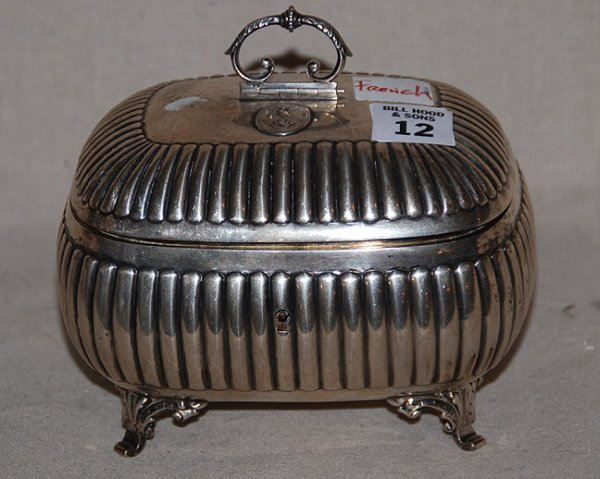 """12: French silver hinged and footed box, 6""""l x 5""""h"""