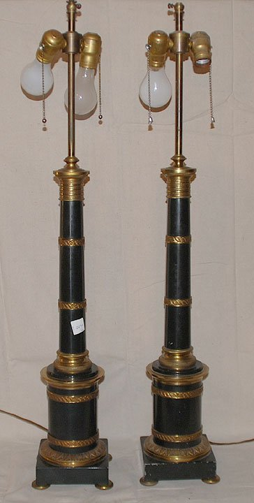 16: Pair of double light footed candelabra , cast bronz