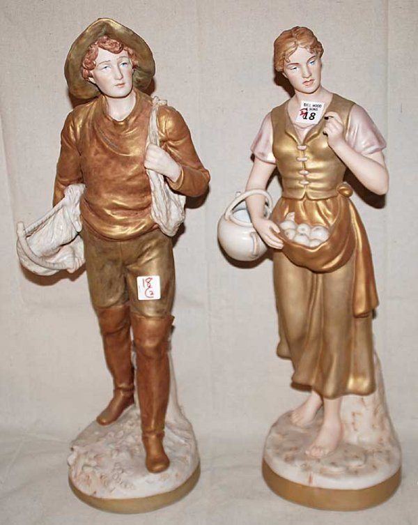 """18: Pair of Royal Dux figurines of man and woman, 20""""h"""
