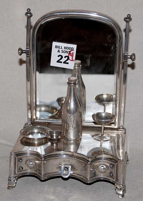 22: English miniature silver dressing table with 3 acce