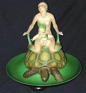 161: LENCI earthenware ceramic figural centerpiece w/ u