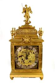 TIFFANY & COMPANY BRONZE CLOCK with time and strike