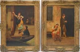 Pair of Italian School Antique decorative oil