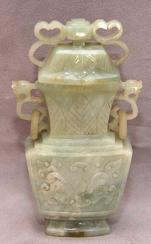 4: Serpentine Jade Vase & Cover. Chinese 19th/20th cent