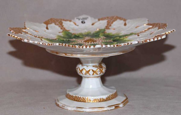 6: Meissen leaf shaped compote, white, gold and green ,