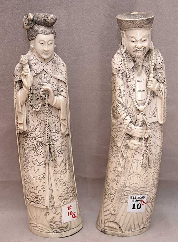 "10: Pair of carved ivory figures, man and woman, 12""h"