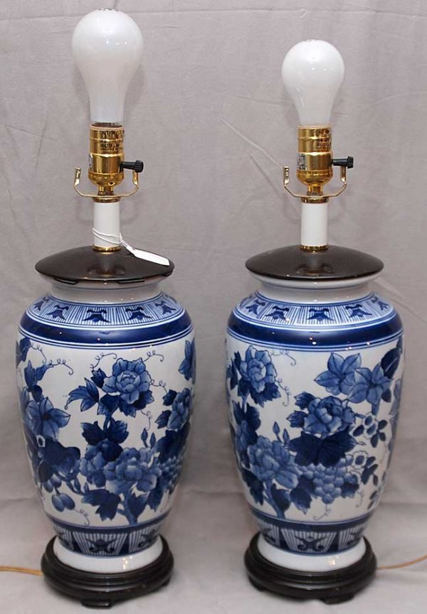 "14: Pair of modern blue and white porcelain lamps, 20""h"