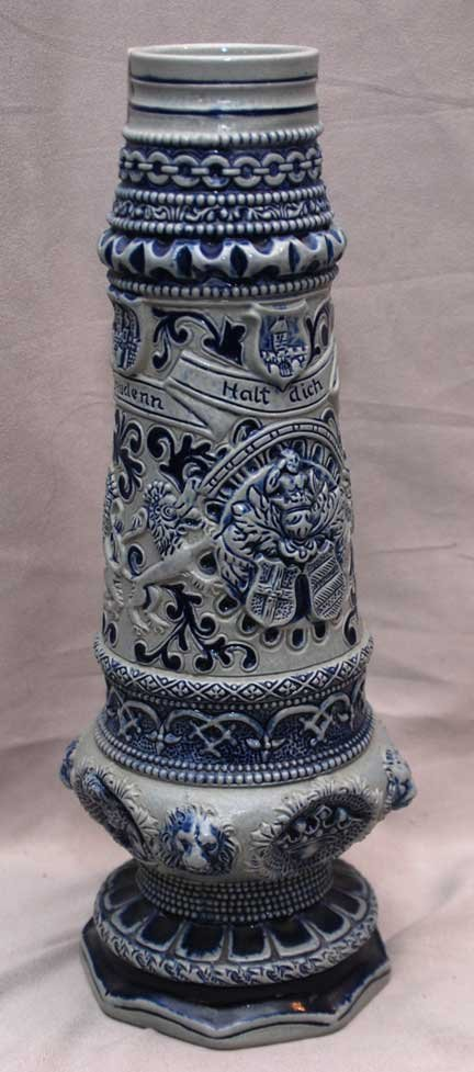 "17: Highly decorated Grenzau pottery vase, 13 3/4""h"