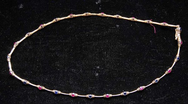 "20: Ruby and blue sapphire collar approx. 17"" long, bez"