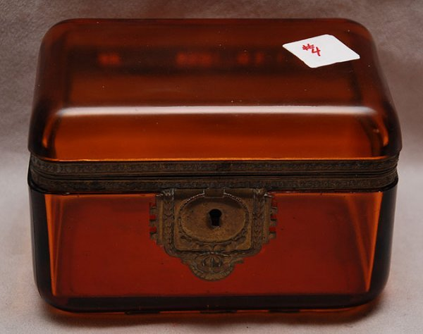 "4: Amber glass hinged box,  6 1/2""L x 4""h x 4""w"