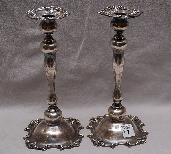 """7: Pair of sterling candlesticks, 10""""h,  22 oz."""