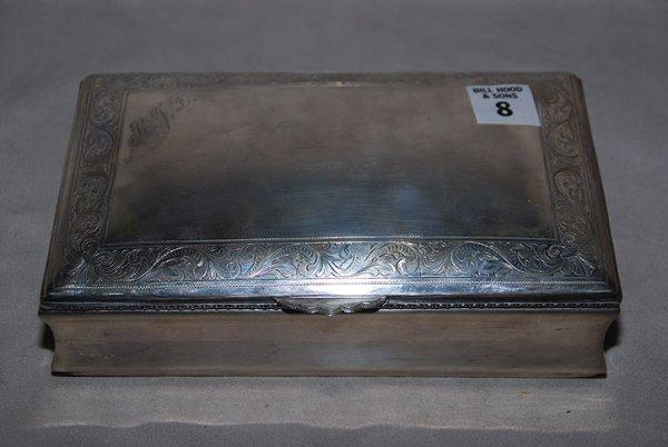 "8: 925 sterling cigarette box, 7 oz, 8""L x 2""h x 5""w"