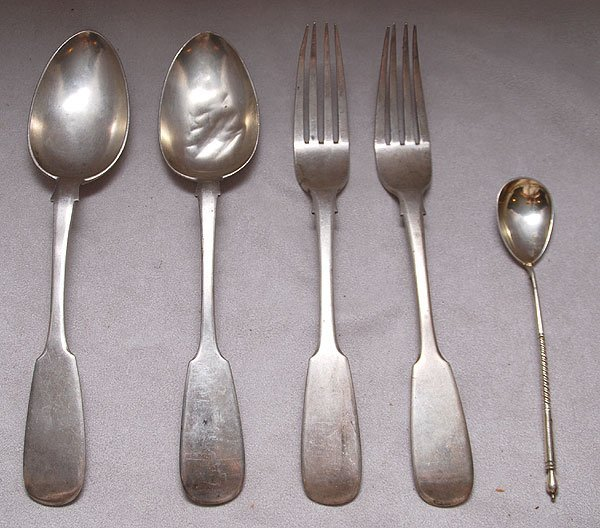 """9: 5 pieces of Russian silver, 2 serving spoons, 8""""l, 2"""