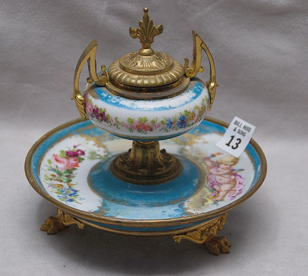 """13: Porcelain """"Sevres"""" inkwell on footed, matching unde"""