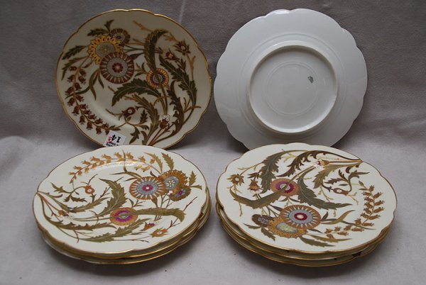 """14: 8  French Haviland   8 1/2"""" plates, raised floral a"""