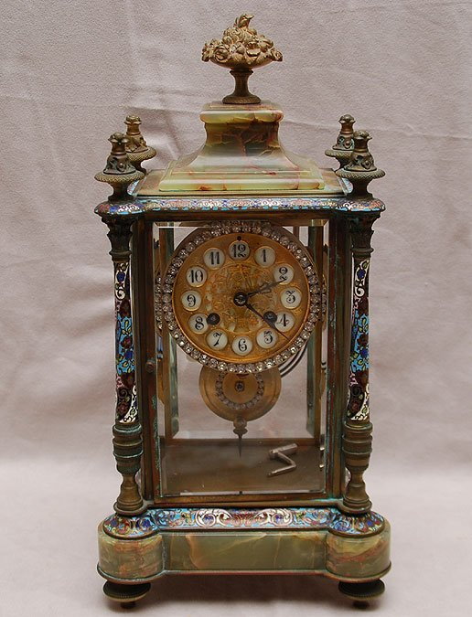 68: Antique French clock, Champleve and bronze, onyx to