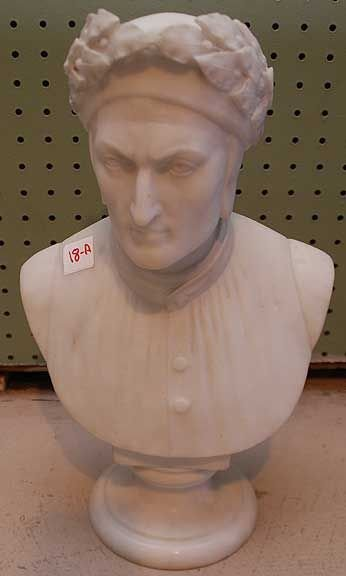 """018A: Marble bust of Roman on circular base, 16""""h x 10"""