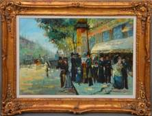 Large Decorative French Street Scene oil on canvas 24