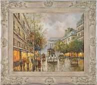 J. GASTON PARISIAN PAINTING: Oil on Canvas, 20 x 24