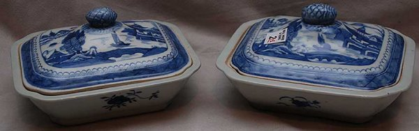 2: Pair of blue and white Oriental covered veggie bowls