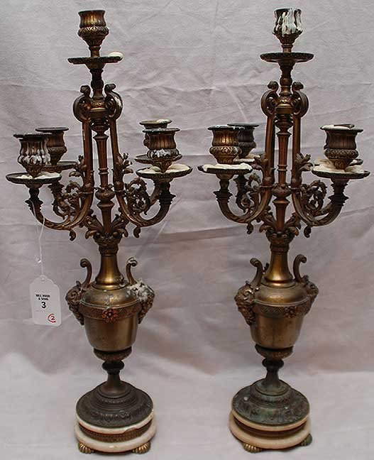 3: Pair of 5 light intricate footed bronze candelabra (
