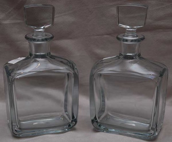"6: Pair of crystal decanters, 9""h"