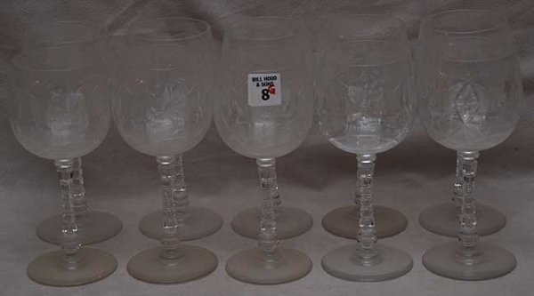 "8: 10 crystal water goblets with twisted stems, 7 1/2""h"
