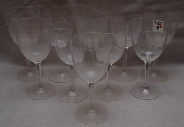 "9: 10 crystal water goblets with beaded interior, 7""h"