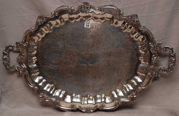 "10: Very ornate silverplated footed tray, 30""l x 19 1/2"
