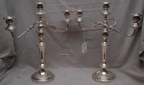 "11: Pair of 3 light silverplate candelabra, 19""h"
