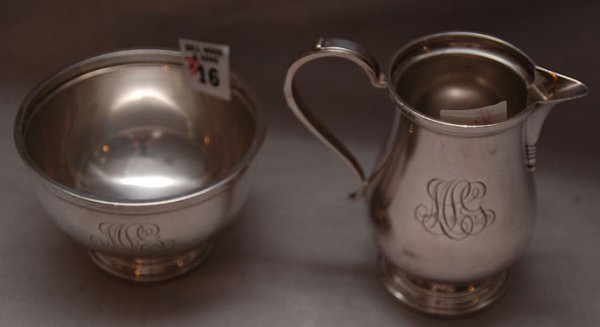 16: Sterling waste bowl and creamer, Bailey, Banks & Bi