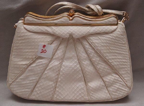 """20: Judith Leiber Inc, White """"whipsnake"""" purse, """"8268 s"""