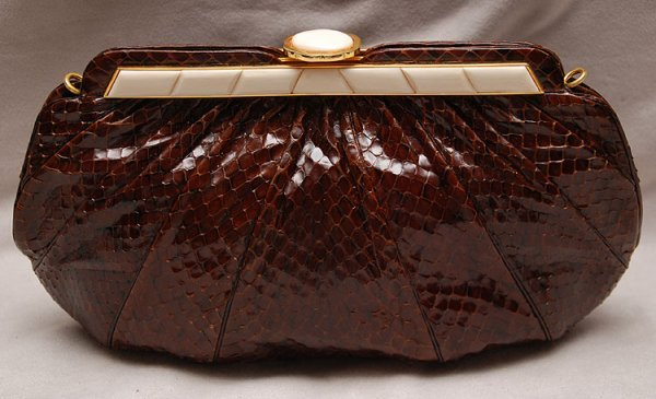 "21: Judith Leiber Inc, Brown, ""whips"" purse ""8244 style"
