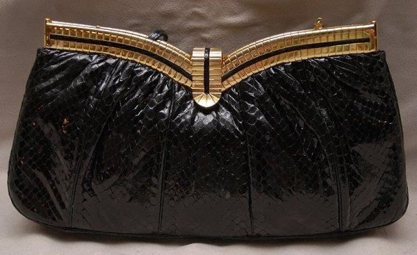 """23: Judith Leiber Inc, black """"whipsnake"""" purse """"8333 st"""