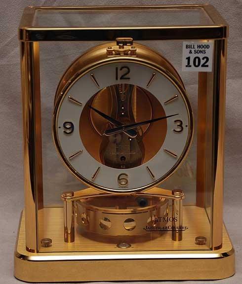 "102: Atmos Jaeger-leCoultre clock, 9""h x 8""L x 6""w"