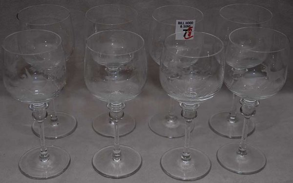 7: 8 etched crystal stems,  motif matching #6, 7""