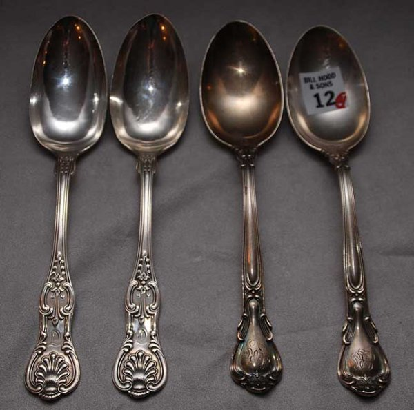 12: 4 sterling serving spoons, 2 are J.E. Caldwell & Co