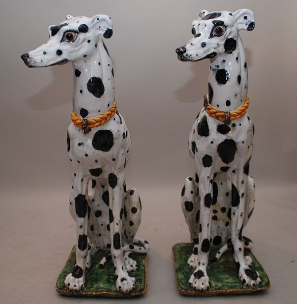 178: Fabulous pair of seated majolica Dalmatians with g