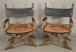 Pair Italian Armchairs with Lion Head Arm Rests, Black