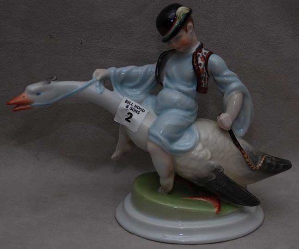 "2: Herend duck with rider atop, 7 1/2""h x 10""L"